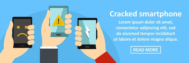 Cracked smartphone banner template horizontal concept Premium Vector