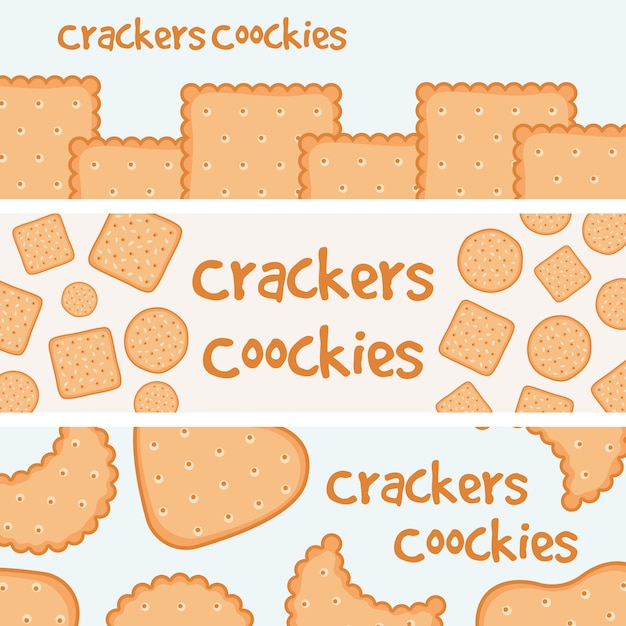 Crackers and biscuits banners Premium Vector