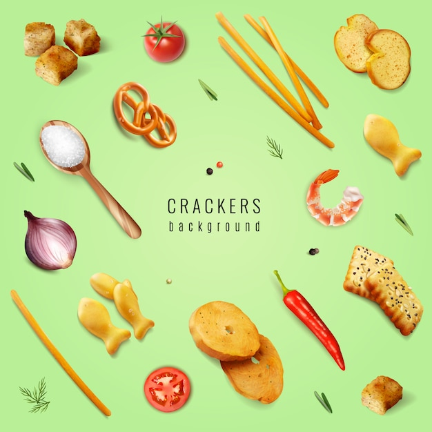 Crackers and snacks with different forms and flavoring additives on green background realistic  illustration Free Vector