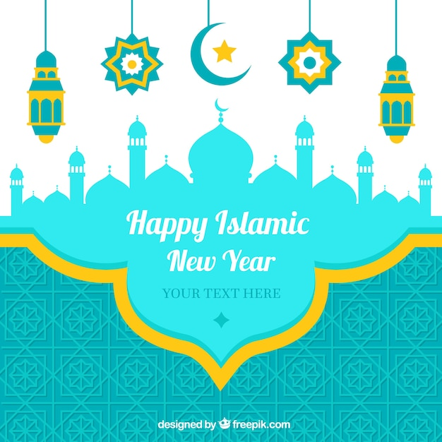 craetive happy islamic new year background free vector