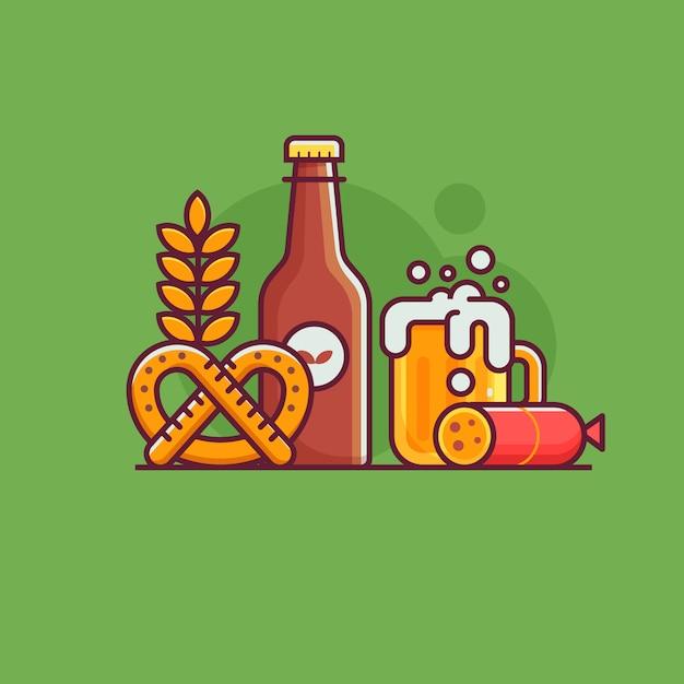 Крафтовое пиво с традиционными символами и элементами пивоварения. Premium векторы