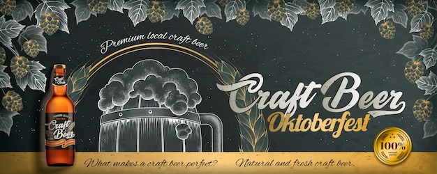 Craft beer engraving style ads for oktoberfest on blackboard , hop and barrel drawn by chalk Premium Vector
