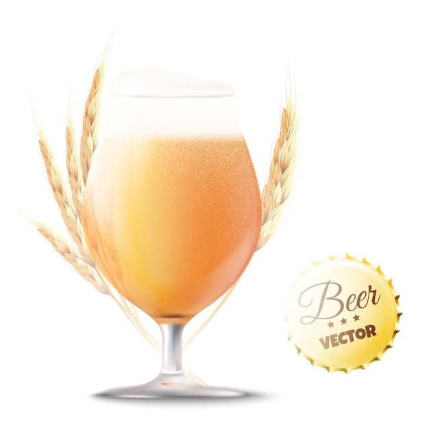 Craft beer. glass of bear with wheat ears Premium Vector