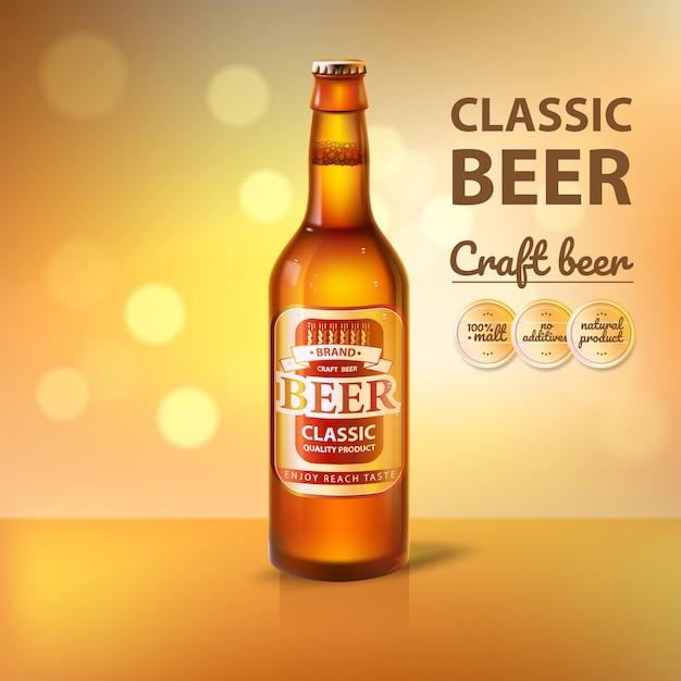 Craft beer in glass bottle promo of brewery Premium Vector