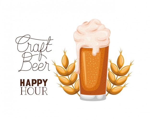 Craft beer happy hour label glass Premium Vector