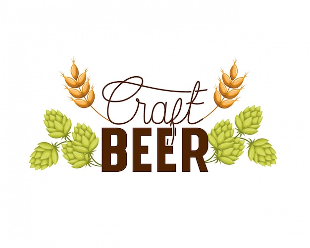 Craft beer label isolated icon Premium Vector