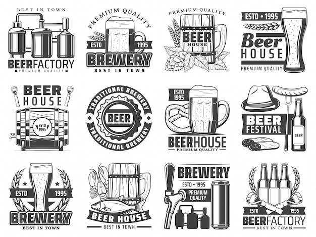 Craft beer pub, bar and brewing factory icons Premium Vector