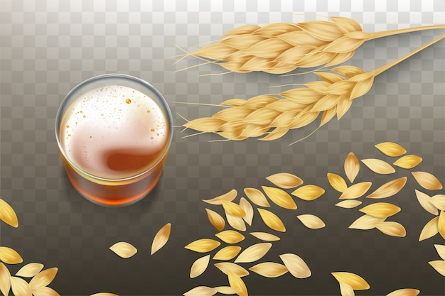 Craft beer or whiskey in glass beaker with barley or wheat ears and grains scattering Free Vector