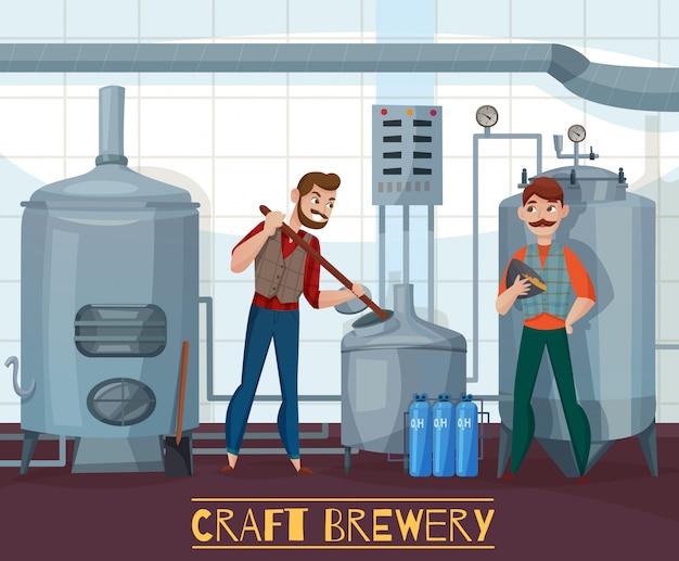Craft brewery cartoon illustration Free Vector