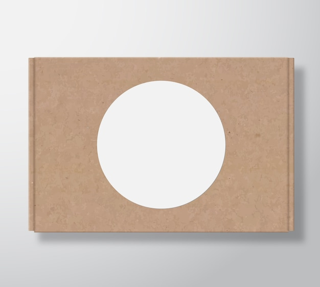 Craft cardboard box container with clear white round label template. Free Vector