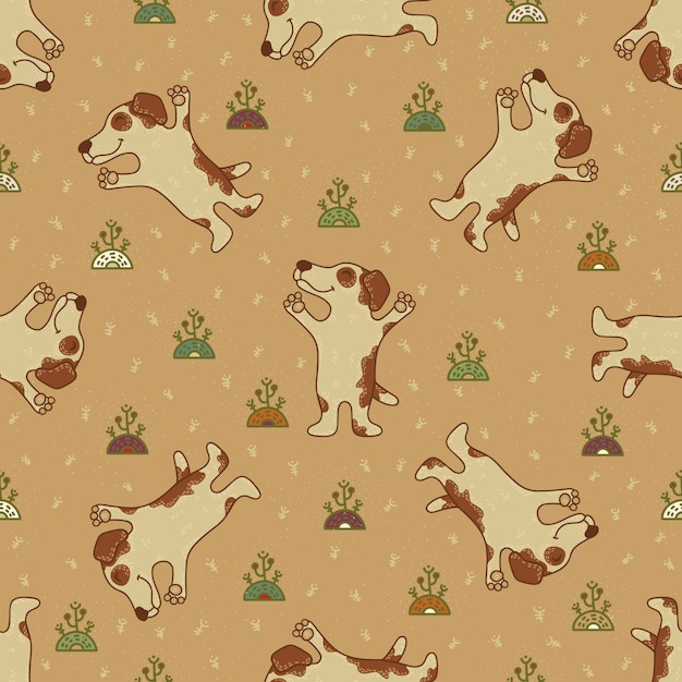 Craft doodle seamless pattern with dogs Premium Vector