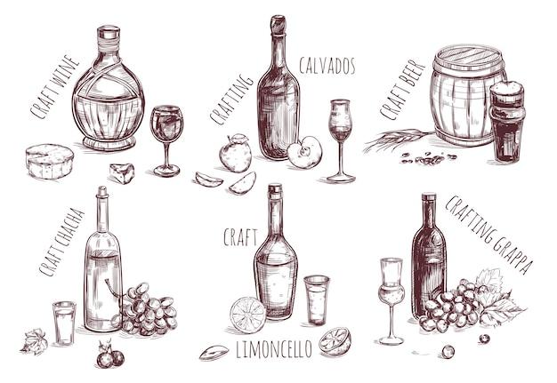 Insieme di elementi di schizzo di bevanda artigianale Vettore gratuito