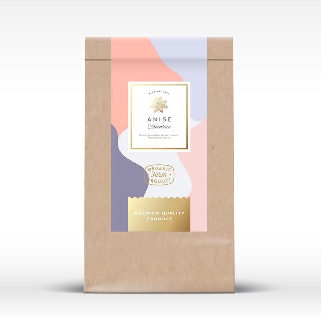アニスチョコレート包装モックアップ付きクラフト紙袋 Premiumベクター