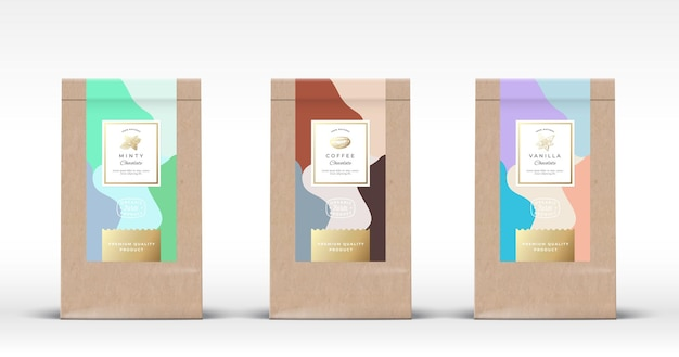 Craft paper bag with chocolate labels set. abstract  packaging  layout with realistic shadows. Premium Vector