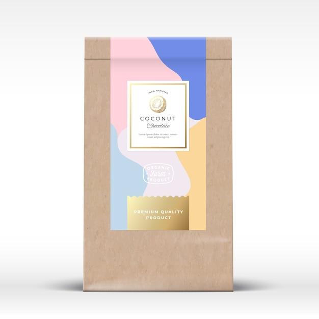 ココナッツチョコレート包装モックアップ付きクラフト紙袋 Premiumベクター