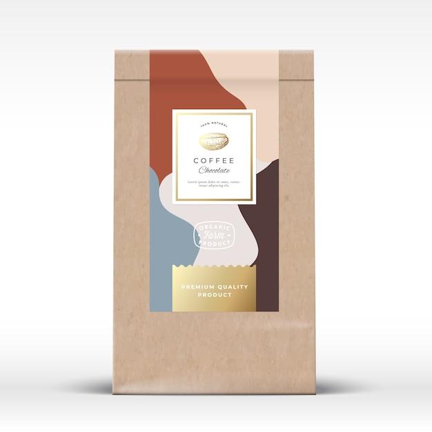 コーヒーチョコレート包装モックアップ付きクラフト紙袋 Premiumベクター