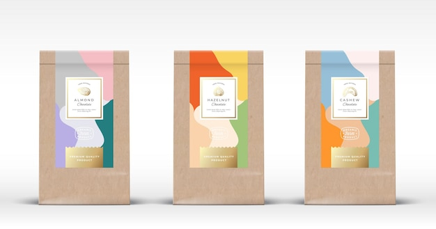 Craft paper bag with nuts chocolate labels set. Premium Vector