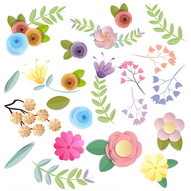 Craft paper flowers, festive floral bouquet, nature clipart isolated on white background, vector Premium Vector