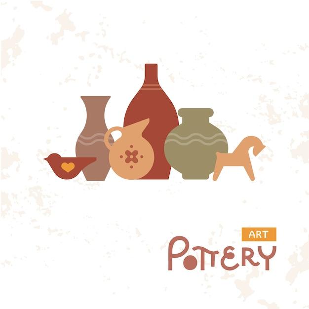 Craft vases pottery of clay Premium Vector