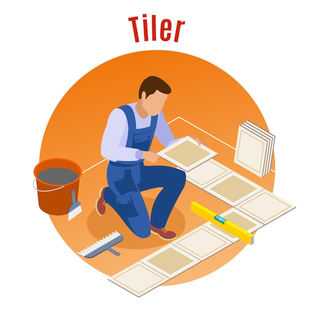 Craftsman home repair and remodeling isometric decorative round  composition with floor tiler at work Free Vector