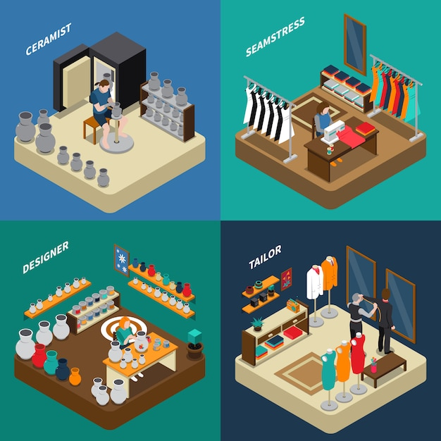 Craftsman isometric compositions Free Vector