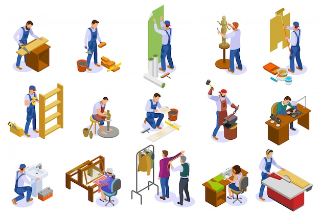 Craftsman isometric icons set with hand loom weaver carpenter sculptor tailor potter at work isolated Free Vector