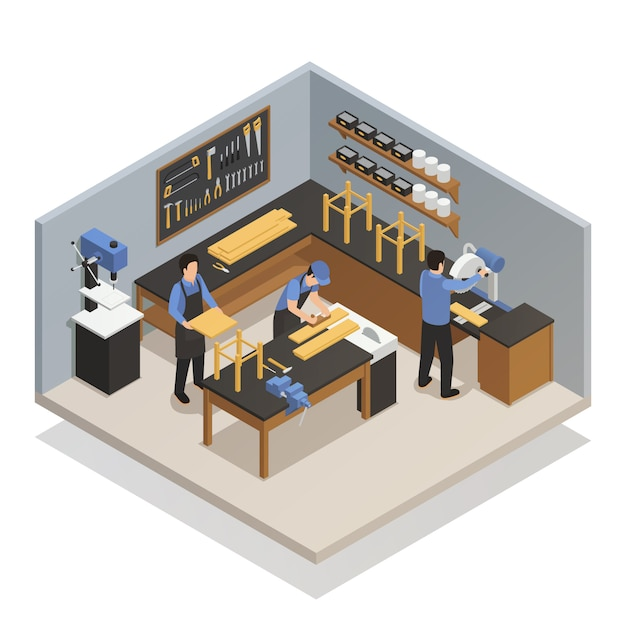 Craftsman people isometric composition Free Vector