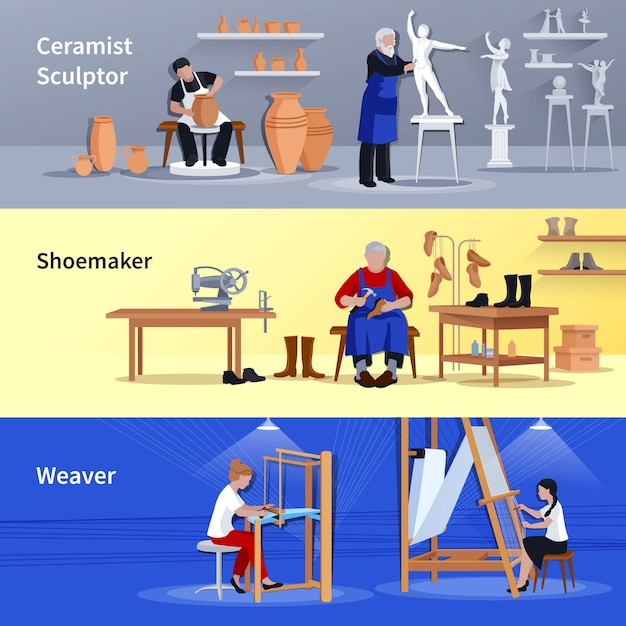 Craftspeople 3 flat banners set Free Vector