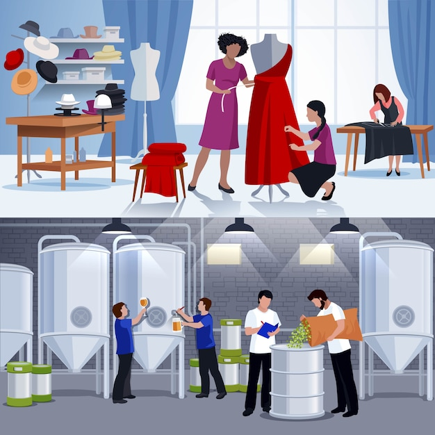Craftspeople tailors brewers 2 flat banners Free Vector