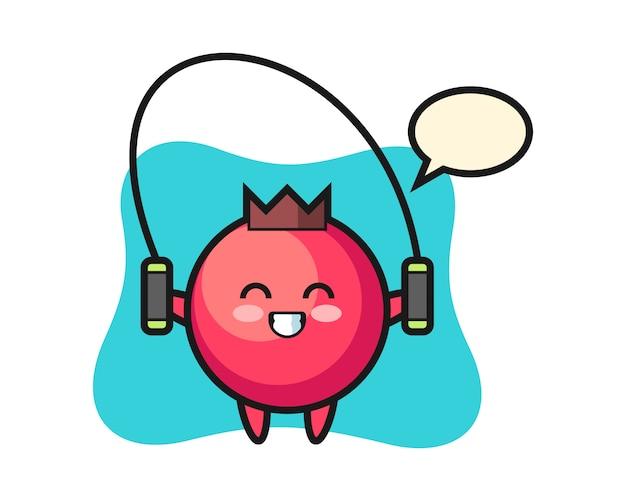 줄넘기, 귀여운 스타일, 스티커, 로고 요소가있는 크랜베리 캐릭터 만화 프리미엄 벡터