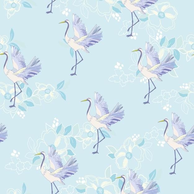 Crane animals pattern Premium Vector
