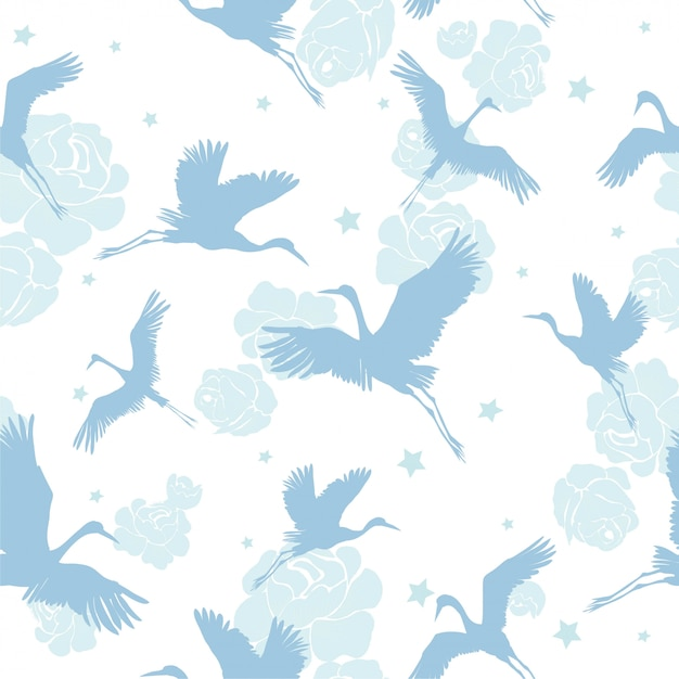 Crane birds seamless pattern Premium Vector