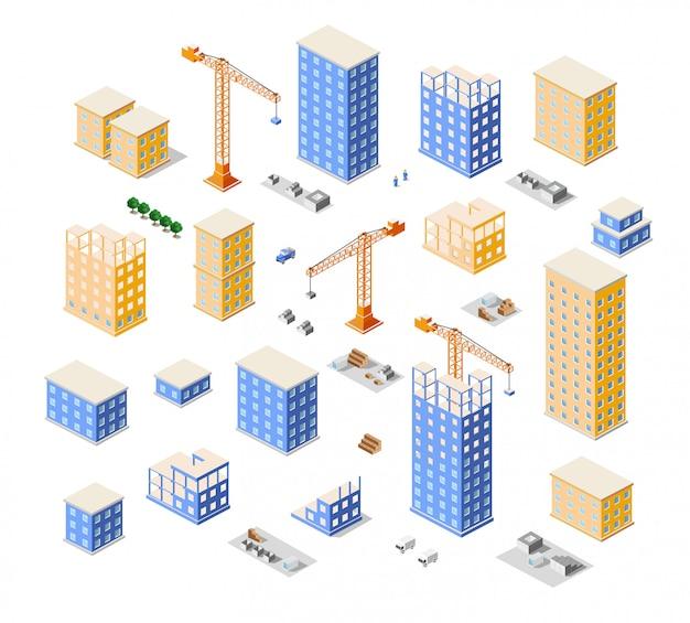 Crane construction industry town isometric  city Premium Vector