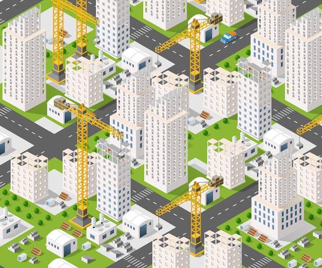 Crane construction industry Premium Vector