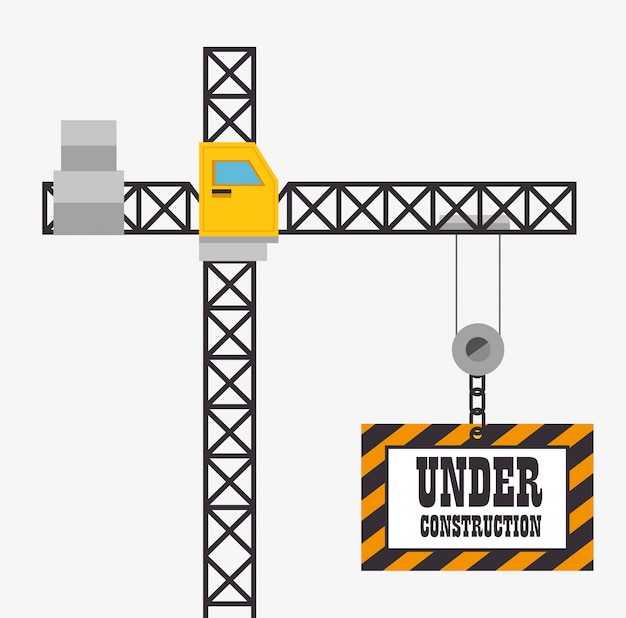 Crane hold under construction sign Free Vector