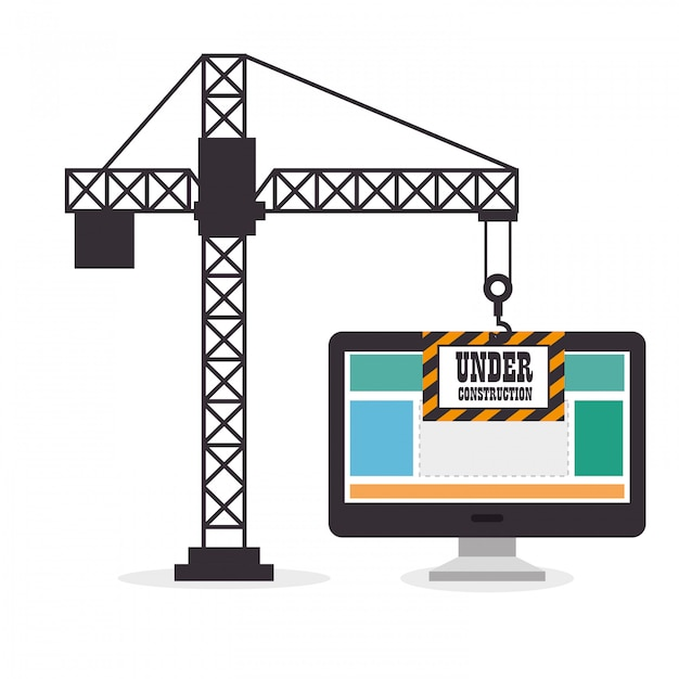 Crane holds computer site under construction Free Vector