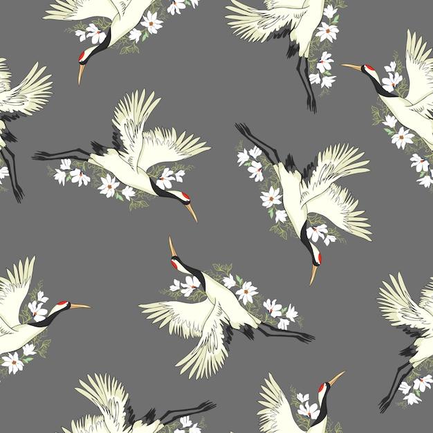 Crane, pattern, vector, illustration Premium Vector