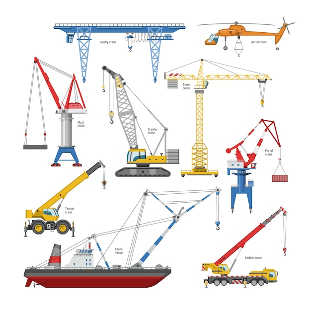 Crane  tower-crane and industrial building equipment or constructiontechnics illustration set of high gantry or portal-crane  on white background Premium Vector
