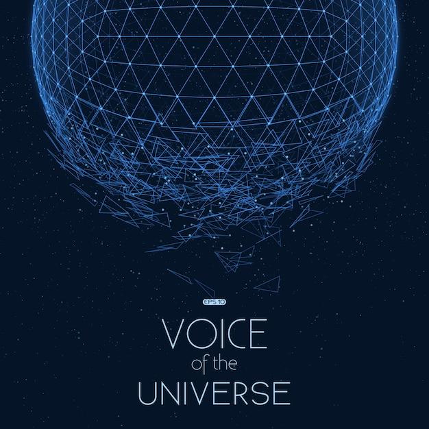 青い宇宙球をクラッシュ。小さな星と抽象的なベクトルの背景。 無料ベクター