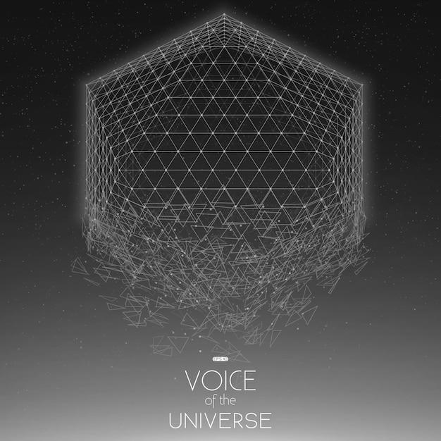 Forma geometrica in scala di grigi dello spazio di schianto Vettore gratuito