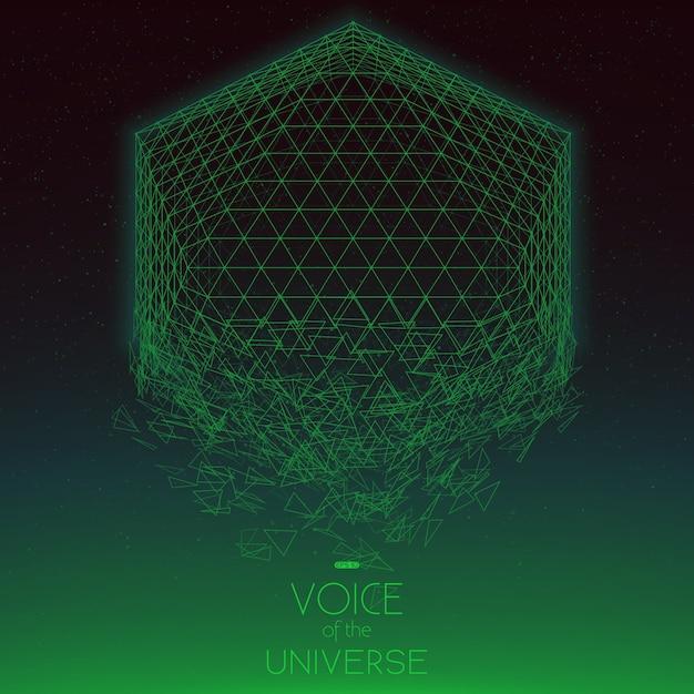 공간 녹색 개체 충돌. 작은 별과 추상적 인 벡터 배경입니다. 바닥에서 태양 광선. 추상 공간 기하학. 무료 벡터