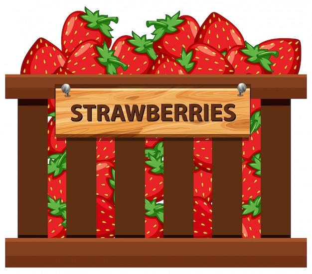 A crate of strawberries Premium Vector