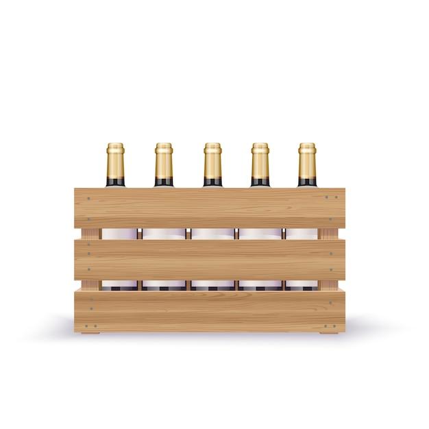 Crate with vine Premium Vector