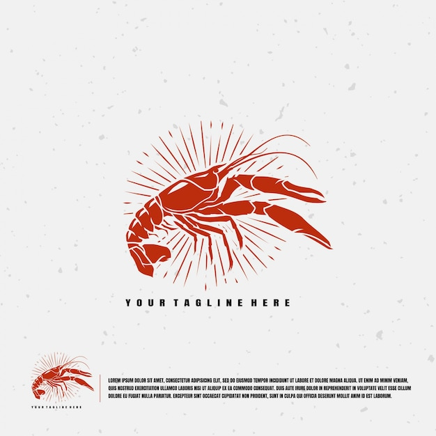 Crawfish illustration logo template Premium Vector