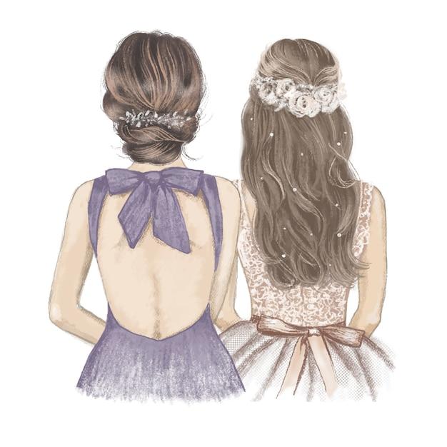 Невеста и подружка невесты, рука иллюстрации нарисованная с карандашами crayon. Premium векторы