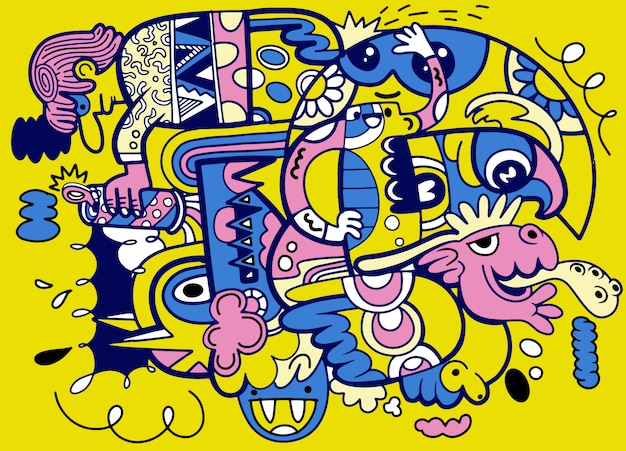 Crazy abstract doodle social, doodle drawing style. illustration Premium Vector