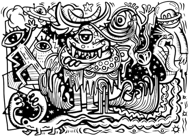 Crazy abstract doodle social, doodle drawing style. vector illustration Premium Vector