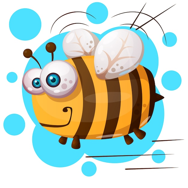 Crazy bee - cartoon illustration character Premium Vector