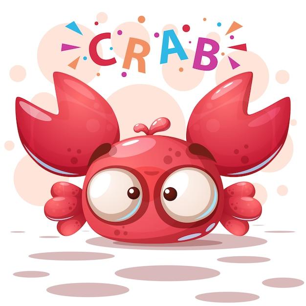 Crazy crab - cute cartoon illustration Premium Vector