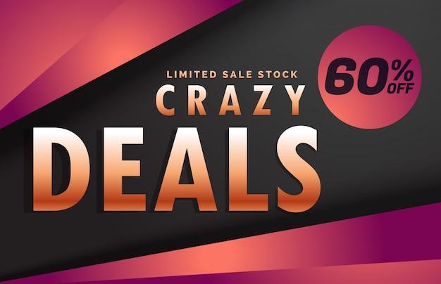 Crazy deals and discount banner voucher template design Free Vector